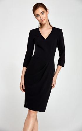 Dopasowana sukienka z asymetrycznymi draperiami - czarny