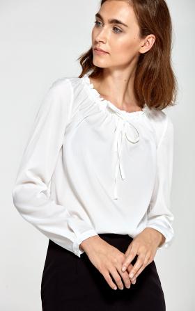 Bluzka z marszczonym dekoltem- ecru