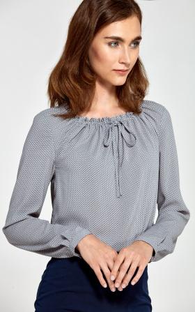 Bluzka z marszczonym dekoltem- szary/kropki