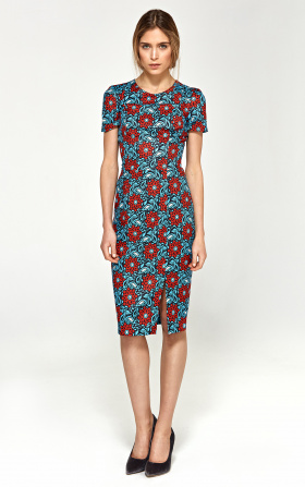 Dopasowana sukienka z krótkim rękawem- kwiaty