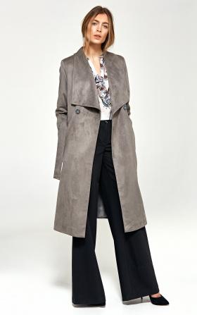 Płaszcz z szalowym kołnierzem - szary