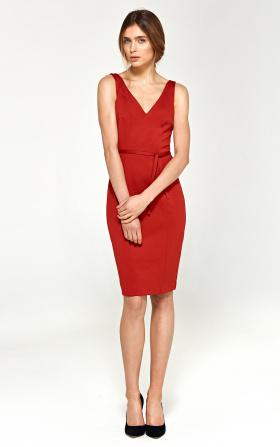 Zmysłowa sukienka z dekoltem na plecach - czerwony