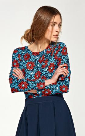 Bluzka z asymetrycznymi draperiami - kwiaty