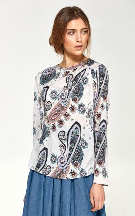 Bluzka z asymetrycznymi draperiami - wzór