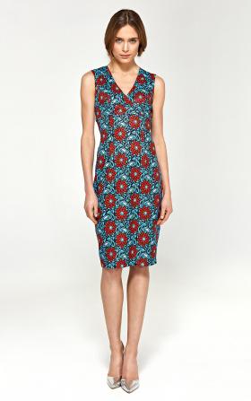 Ołówkowa sukienka z dekoltem V - kwiaty