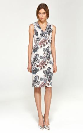 Ołówkowa sukienka z dekoltem V - wzór