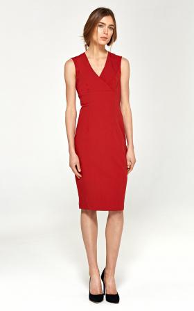 Ołówkowa sukienka z dekoltem V - czerwony