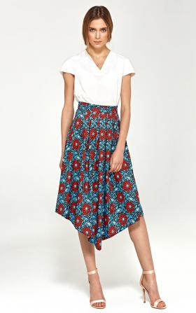Asymetryczna spódnica z zakładkami - kwiaty
