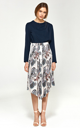 Asymetryczna spódnica z zakładkami- wzór