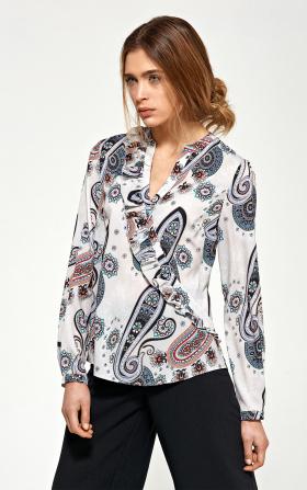 Bluzka z asymetrycznymi falbanami - wzór