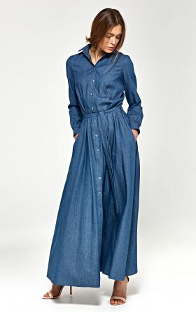 Sukienka maxi z długim rękawem - jeans