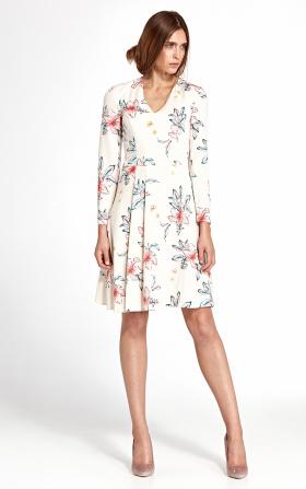 Sukienka z zakładkami - kwiaty/ecru