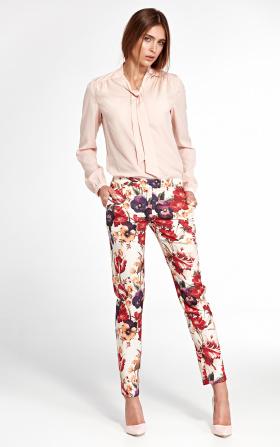 Klasyczne spodnie z lekko zwężanymi nogawkami - kwiaty