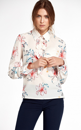 Bluzka z kokardkami - kwiaty/ecru