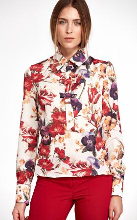 Bluzka z kokardkami - kwiaty