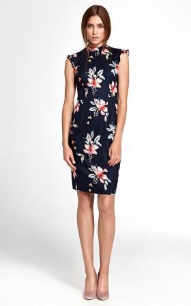 Sukienka z falbankami na ramionach - kwiaty/granat