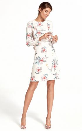Sukienka z pionową falbaną - kwiaty/ecru