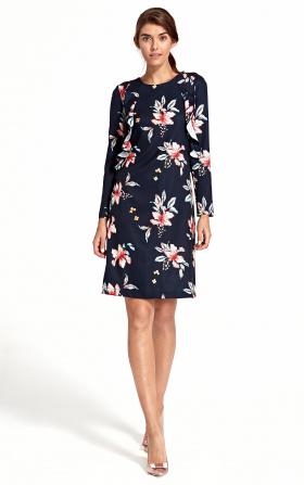 Sukienka z pionową falbaną - kwiaty/granat
