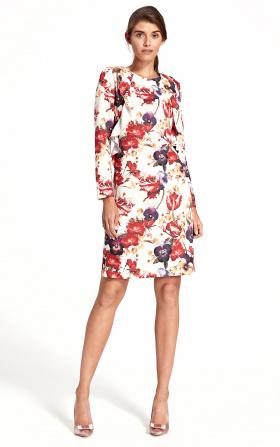 Sukienka z pionową falbaną - kwiaty