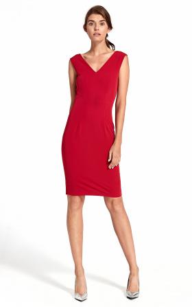 Sukienka z głębokim dekoltem na plecach - czerwony