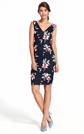 Sukienka z głębokim dekoltem na plecach - kwiaty/granat