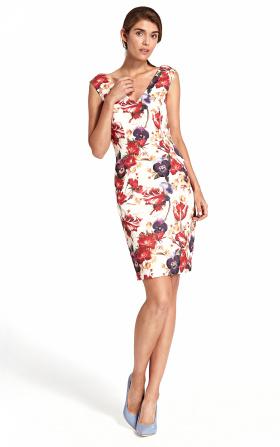 Sukienka z głębokim dekoltem na plecach - kwiaty
