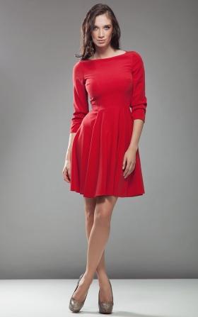 Sukienka AUDREY z rękawem 3/4 - czerwony