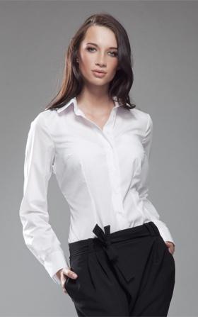 Koszula z okrągłym kołnierzykiem - biały