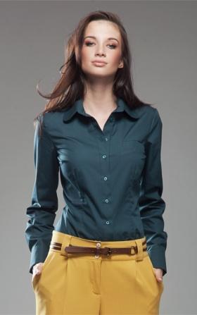 Koszula z okrągłym kołnierzykiem - zielony