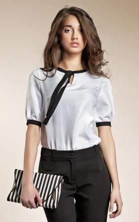 Subtelna bluzeczka z wstążką - biały