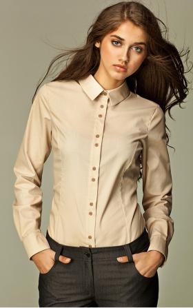 Koszula z podwójnymi guzikami - beż