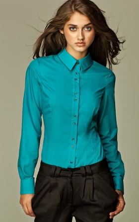 Koszula z podwójnymi guzikami - lazur