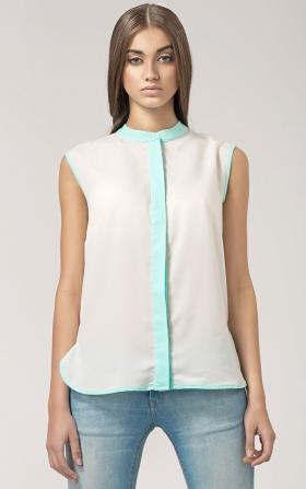Bluzka z kontrastową plisą - ecru/seledyn