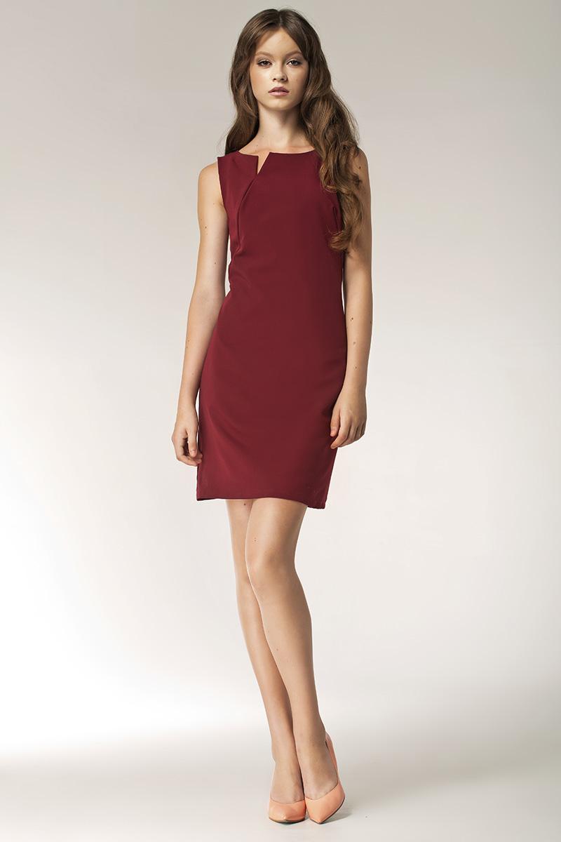 0f2a3756d1 Sukienka z rocięciem na dekolcie - bez rękawa - bordo