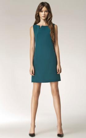 Sukienka z rozcięciem na dekolcie - bez rękawa - zielony