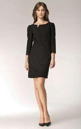 Sukienka z rozcięciem na dekolcie - długi rękaw - czarny