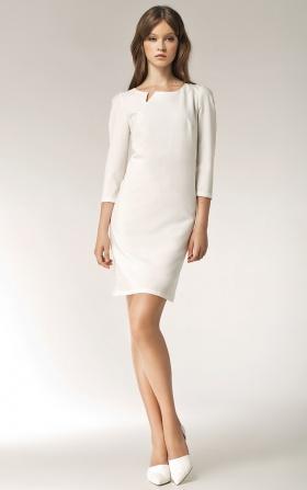 Sukienka z rozcięciem na dekolcie - długi rękaw - ecry