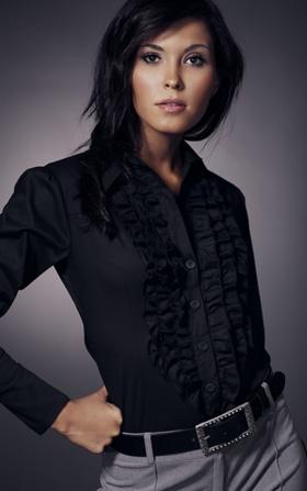 Koszula z żabotem długi rękaw - czarny