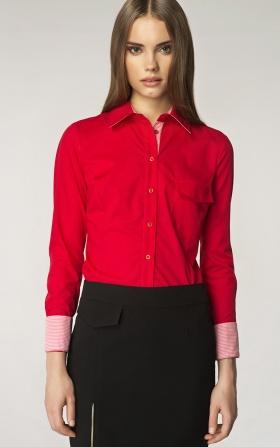 Koszula ze wzorem na mankiecie - czerwony/kratka
