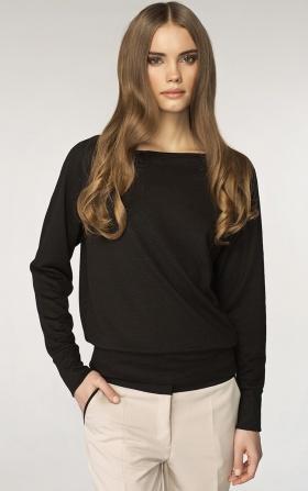 Sweter z dekoltem w łódkę - czarny