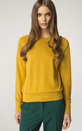 Sweter z dekoltem w łódkę - żółty