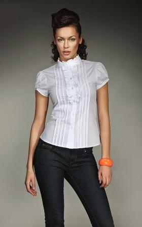 Urocza koszula z falbanką i zakładkami - biały