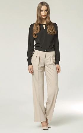 Spodnie z zakładkami - szwedy - beż
