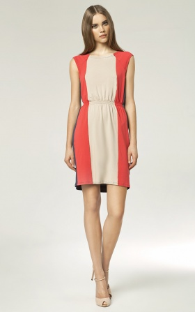 Trójkolorowa sukienka - beż