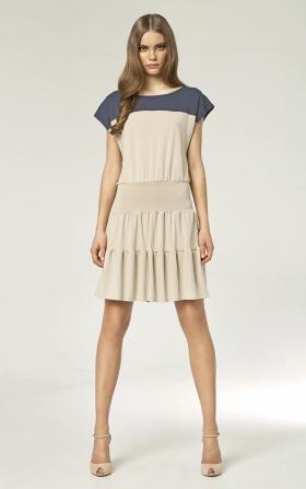 Dwukolorowa sukienka - beż