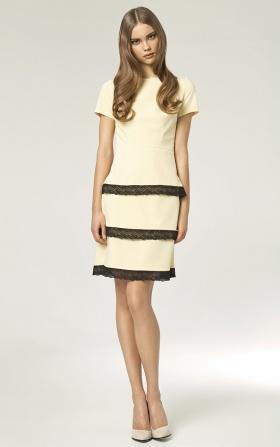 Sukienka z koronkami - żółty
