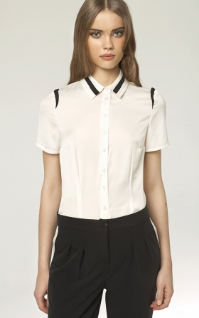 Koszula z lamówką - ecru