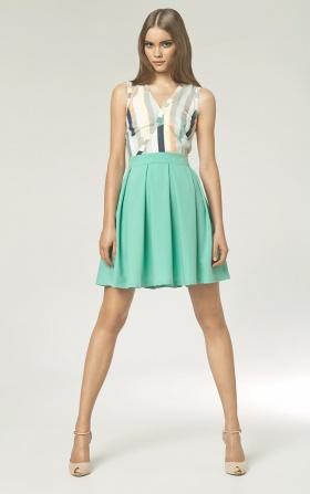 Sukienka z plisowanym dołem - seledyn/paski