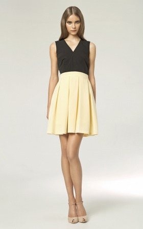 Sukienka z plisowanym dołem - żółty/czarny