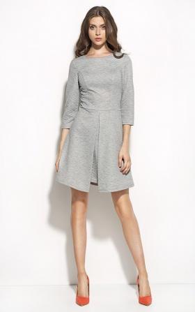 Pikowana sukienka z kontrafałdą - szary